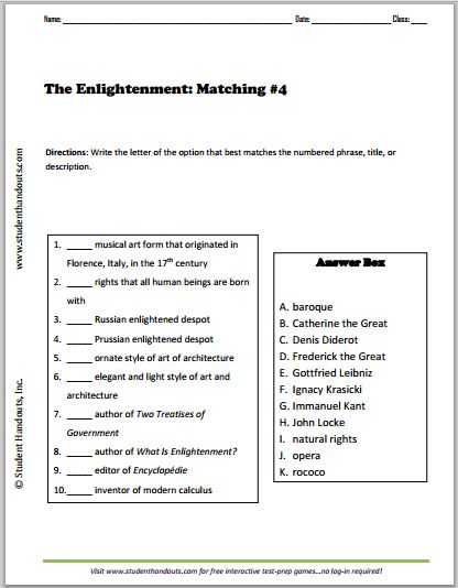 Printables Enlightenment Worksheet enlightenment matching 4 free to print pdf grades 9 12 12