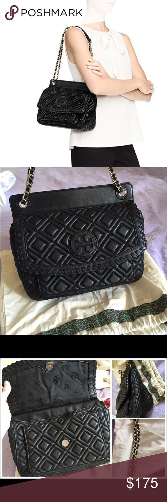 """Get $25 off❗️Marion quilted small shoulder bag Quilted leather. Flap front with magnetic snap closure. Exterior pocket under front flap. Interior zipper pocket and two open pockets. Adjustable leather and chain shoulder strap with 18"""" (47 cm) drop when fully extended. Height: 8"""" (21 cm) Length: 10"""" (27 cm) Depth: 3.5"""" (9 cm)  Color is Tiger Eye  show some wear on cornors. Overall in good condition.  No trades thanks. Will do $25 less on M Tory Burch Bags Shoulder Bags"""