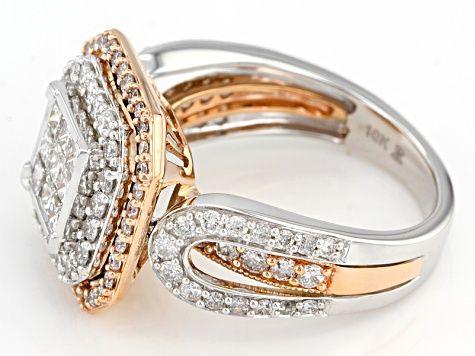 White Diamond 10k White And Rose Gold Ring 2 00ctw Rgd078 Jtv Com Rose Gold Ring Gold Rings Diamond Jewellry