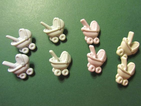 8 - BUTTONS GALORE BABY CARRIAGES PASTEL PLASTIC SHANK EMBELLISHMENTS - Lot #G82