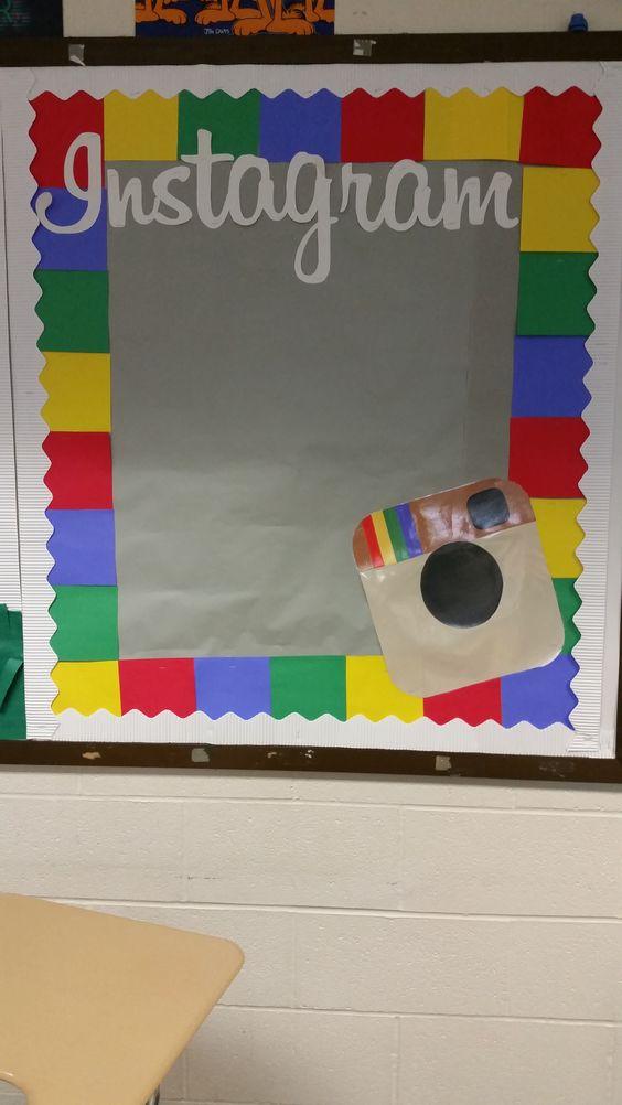 Latest Classroom Door Decoration Ideas ~ Instagram bulletin board to display photos of students in