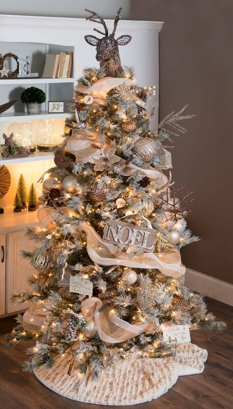 Beautiful Gold Christmas Decorations and Gold Tree Ideas - Woodland Christmas Tree