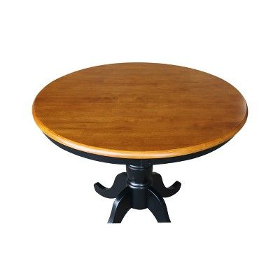 36 Round Top Pedestal Dining Table Black Red International Concepts Adult Unisex Dining Table Pedestal Dining Table Round Pedestal Dining Table