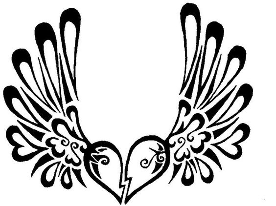 h tattoo wing tattoos and heart wings tattoo on pinterest. Black Bedroom Furniture Sets. Home Design Ideas