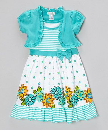 Teal Floral Stripe Ruffle Dress & Shrug - Infant, Toddler & Girls #zulily #zulilyfinds