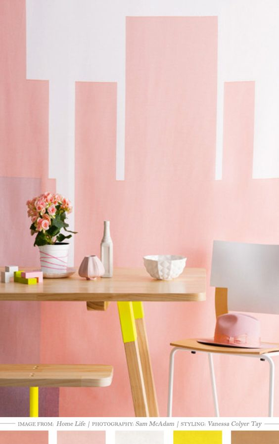 Love these pinks and neutrals, especially with the POP of yellow!