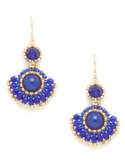 Miguel Ases blue and jade fan drop earrings #bohemian #chic: