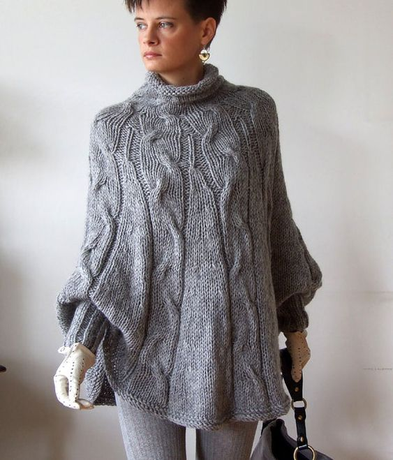 Cable Cape Knitting Pattern : Hand knitted poncho braided cape sweater,fall fashion cabled poncho, avant ga...