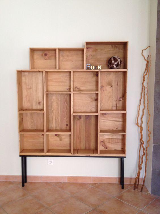 etag re biblioth que caisses vin home pinterest. Black Bedroom Furniture Sets. Home Design Ideas