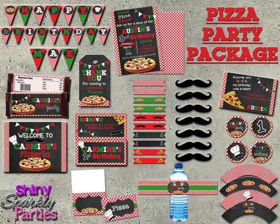 Printable Pizza Party Birthday Package (Digital Files Only)