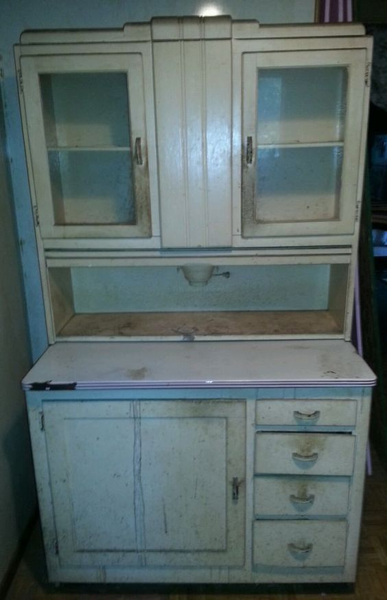 Hoosier cabinet with built in flour mill price lowered for Built in kitchen cupboards prices
