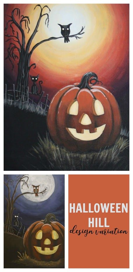 """Our popular """"Halloween Hill"""" design gets a new look for this season! It has been simplified for a quicker painting time and the palette has been warmed up for a different look for your decor   #socialartworking"""