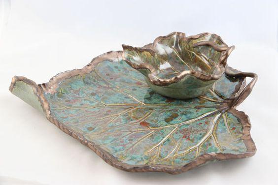 Stoneware Pottery Leaf Serving https://www.etsy.com/listing/258039625/stoneware-pottery-leaf-serving-platter?ref=shop_home_active_1Platter Dip Bowl Set - Handmade