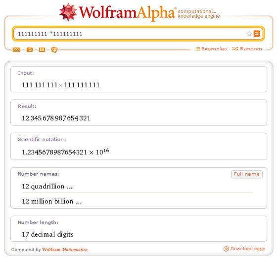 111111111 x 111111111 - Wolfram-Alpha