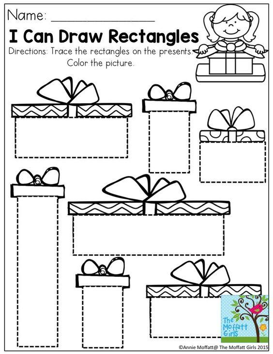 preschool rectangle activities december filled learning with no prep activities 675