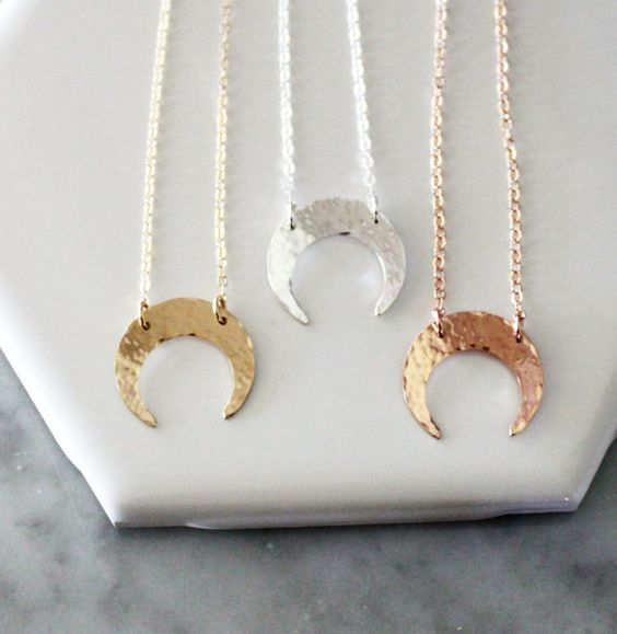 Dainty Moon Necklace Crescent Necklace Boho by TheSilverWren