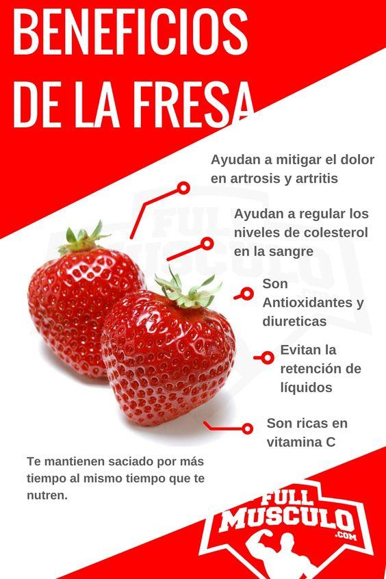 Infografia de los beneficios de la fresa. Ayudan a mitigar el dolor en artrosis y artritis, ayudan a regular los niveles de colesterol en la sangre, son antioxidantes y diuréticas, evitan la rentención de líquidos, son ricas en vitamina C.:
