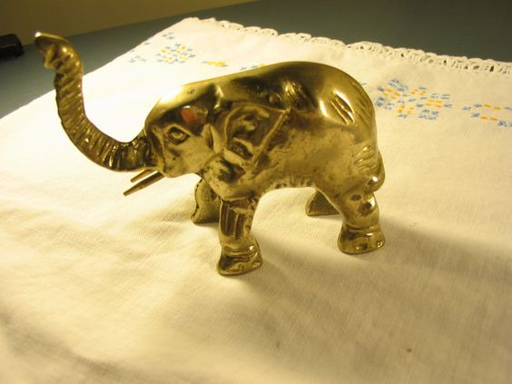 """$19.99  Vintage Solid Brass Good Luck Elephant Paperweight or Doorstop 4"""" Long Trunk Up"""