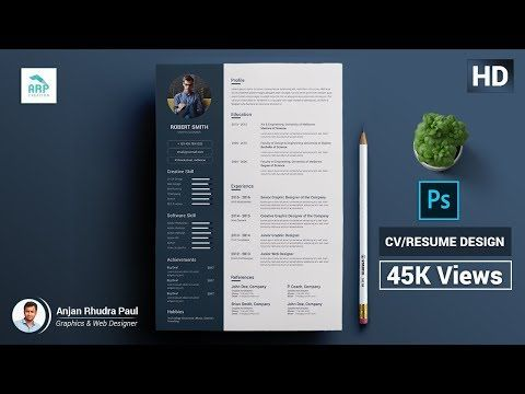 How To Create A Cv Resume Template In Photoshop Photoshop Tutorial Youtube Cv Resume Template Resume Template Create A Cv