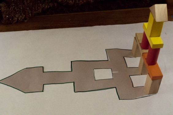 Traced the shadow of the block tower to later match again