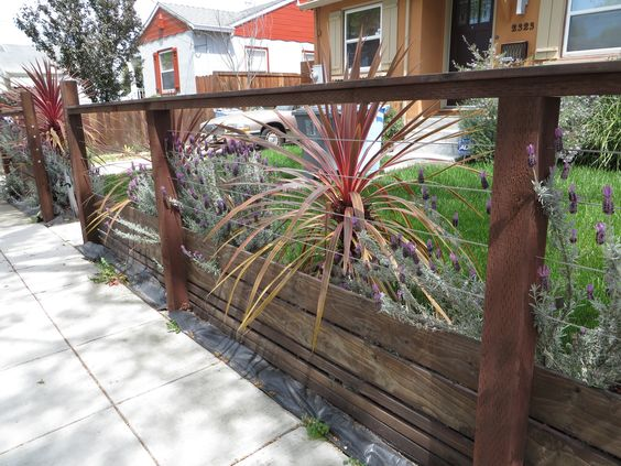 Modern Low Fence With Wood At Bottom, Horizontal Wires And
