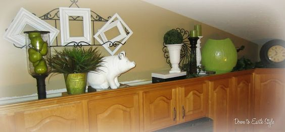 Above cabinets: Re Decorating Ideas, Creative Ideas, Kitchen Decor, Cabinets Decorations, Cabinet Top, Kitchen Ideas, Cabinet Ideas, Above Kitchen Cabinets