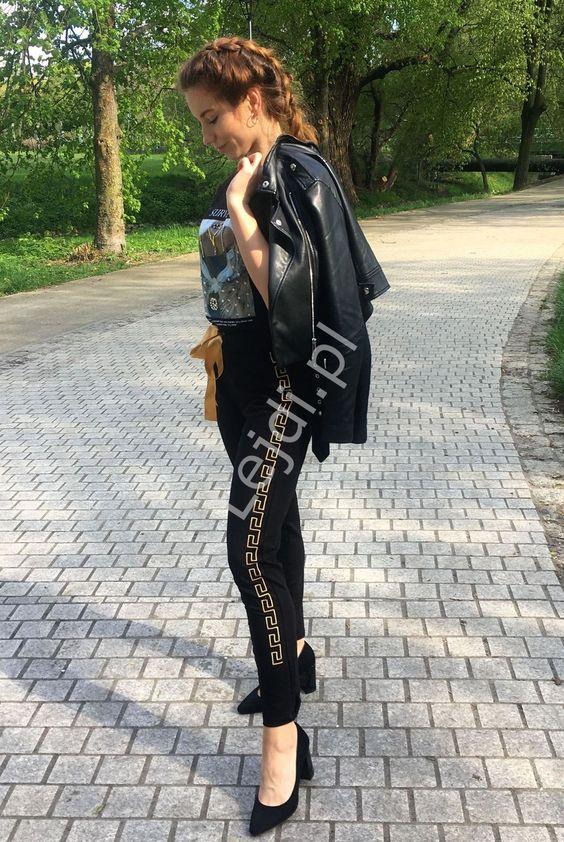 Czarne Spodnie Dresowe Z Zlota Kokardka Fashion Style Women S Top