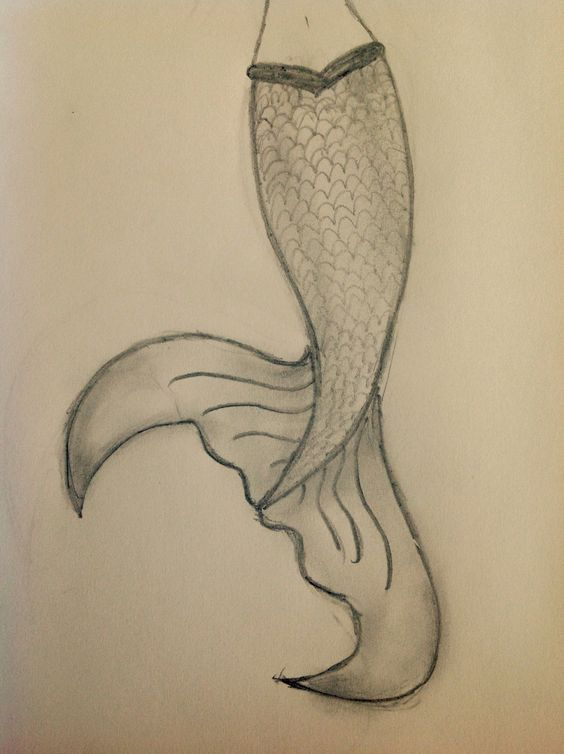 A simple easy mermaid tail drawing that looks 10 times ...