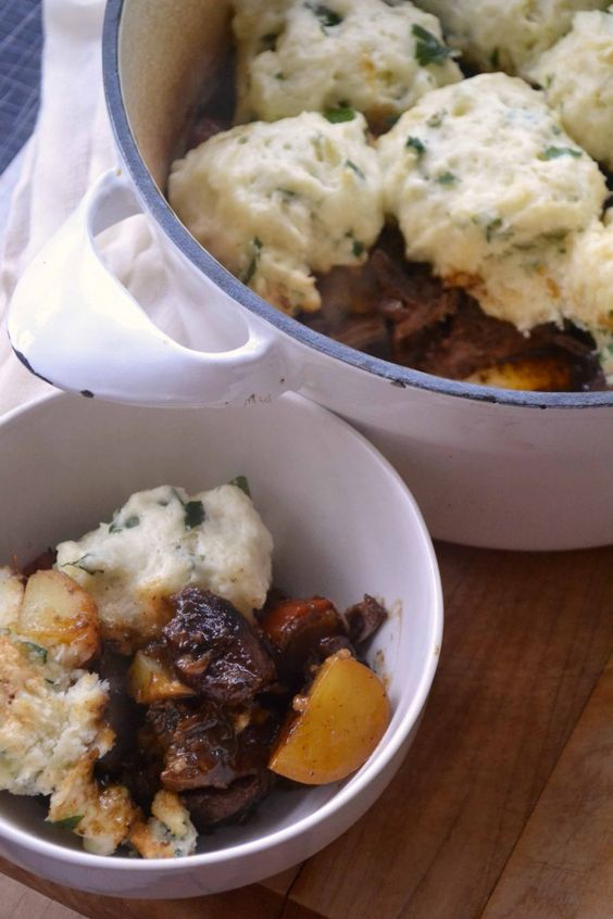 irish beef stew with stout and parsley dumplings