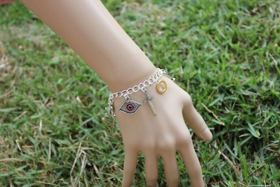 Lord of the Rings Charm bracelet Sauron eye ring by cuteandfun, $40.00