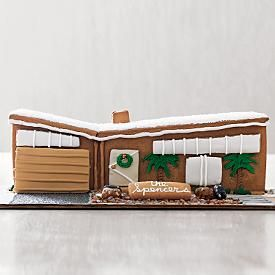 MCM gingerbread (RedEnvelope.com, holiday 2007, discontinued). Found by Dessert Girl. http://dessertgirl.blogspot.com/2008/12/mid-century-gingerbread-house.html  I can see I'm going to upset the girls this year when I suggest this as a design for the gingerbread house over gothic/victorian manor house.