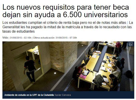 Los nuevos requisitos para tener beca dejan sin ayuda a 6.500 universitarios / LaVanguardia   #universidadencrisis
