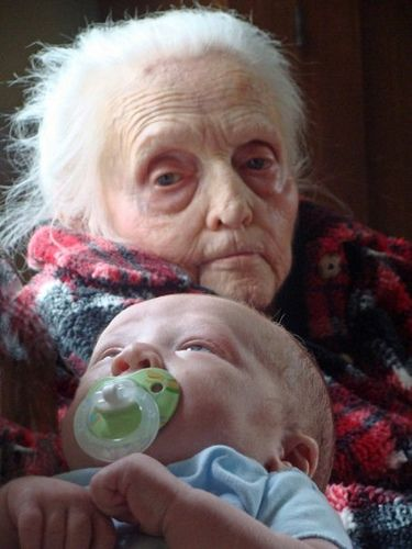 My grandmother with her great grandson Leo
