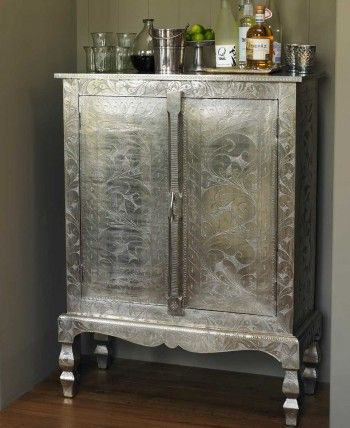 Etched Silver Armoire: