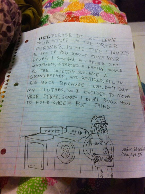Naked old man just wants to do his laundry