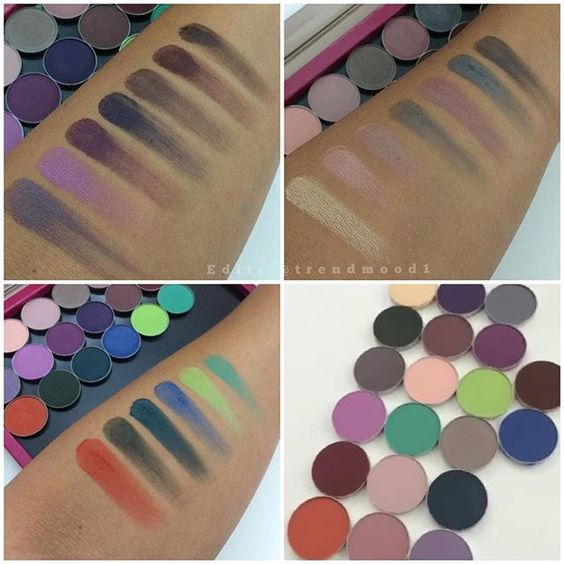 FIRST #SWATCHES   #MatteEyeshadow  @makeupgeekcosmetics Available OCT 13TH  Top L pic: L-R Fairytale, Carnival, Curfew, Motown, Vintage, Cherry Cola and Americano.  Top R pic: Mirage, Sorbet, Confection, Bedrock, Petal Pusher, Stealth and Concrete Jungle.  Bottom L pic: Morocco, Enchanted Forest, Time Travel, Boo Berry, Fuji and Dragonfly