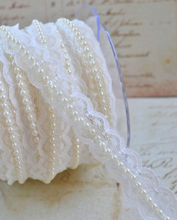 Could be useful for DIY invites. :)  5 Yards Lace Pearl Ribbon Trim Wedding by ScrappyStuffSupplies, $10.49