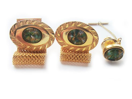 Vintage Wrap Cuff Links and Tie Tack Pin Set by BreatheCouture, $28.00