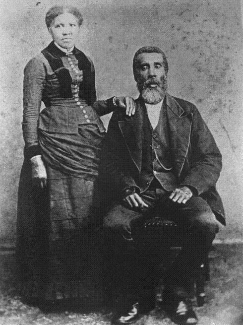 "HARRIET AND JOHN TUBMAN: The only photo held representing the likeness of Harriet's first husband, John Tubman, a free black man of Maryland, killed after Harriet's escape to freedom. Harriet's age in photo is about 30 years. Around 1844, she married a free black man, John Tubman. Since she was a slave, there could be a chance that she could be sold; he reportedly told her that he would tell ""massa"" if she tried. Her goal to achieve freedom was too large for her to give up though. In 1849 she left her husband and escaped to Philadelphia in 1849:"