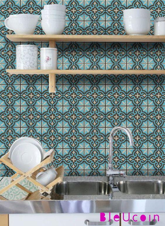 Pin by WandAkzente on Orientalische Fliesenaufkleber Pinterest - fliesenspiegel küche überkleben