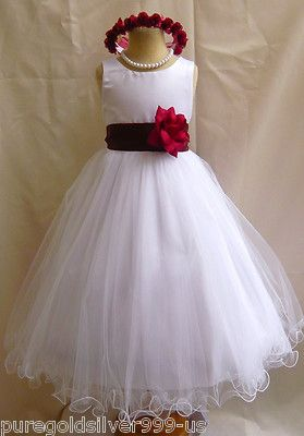 Details about WHITE APPLE RED CLARET WEDDING PARTY FLOWER GIRL ...