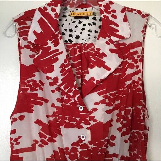 Alice + Olivia Silk Print Shirt dress Super cute shirt dress from Alice+Olivia. Amazing print! Flattering cut. Brand new condition. No tags. Alice + Olivia Dresses