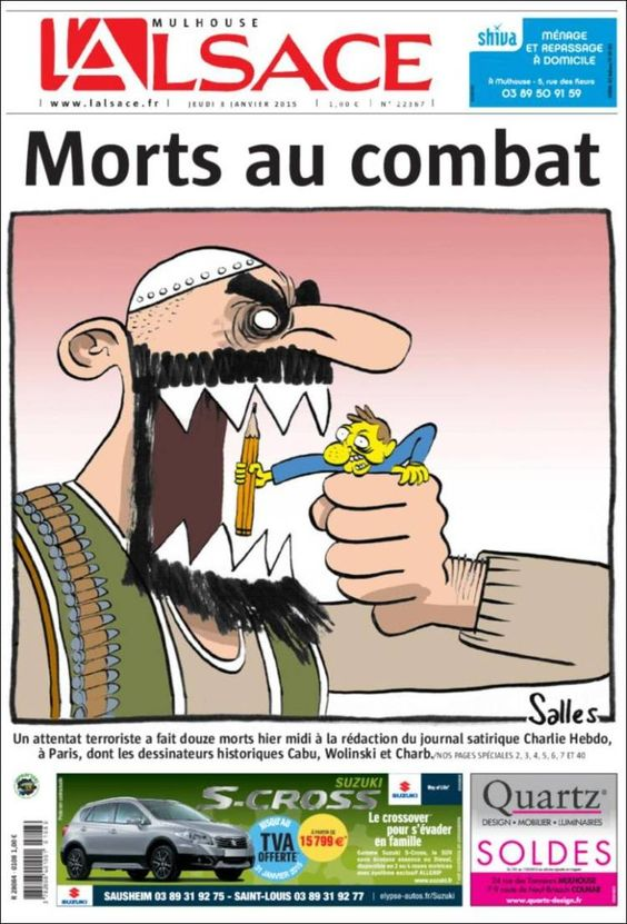Portada de Journal L'Alsace (Francia) on Charlie Hebdo attack.