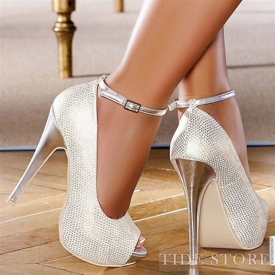 Most Popular Silvery White Peep Toe Strap Stiletto Heel Pumps: tidestore.com