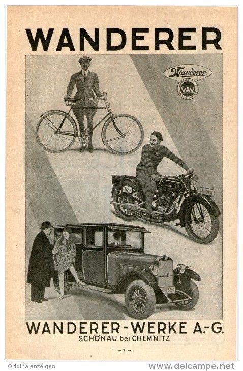 Original-Werbung/Inserat/ Anzeige 1928 - WANDERER AUTOMOBILE/FAHRRÄDER/MOTORRÄDER  - ca. 260 x 160 mm
