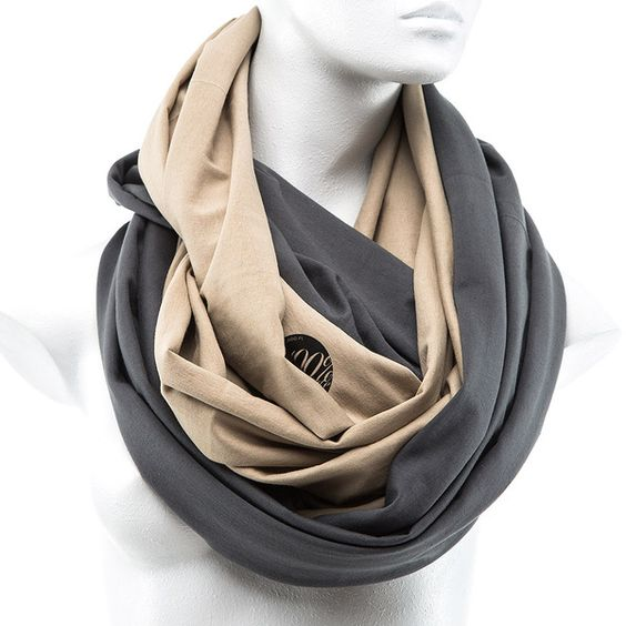 2 Colors Snood Shawl unisex NUDE GRAY de CADO accessories sur DaWanda.com