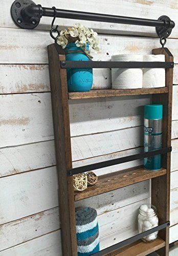Bathroom ladder shelf wire baskets and hanging wire - Bathroom storage baskets shelves ...
