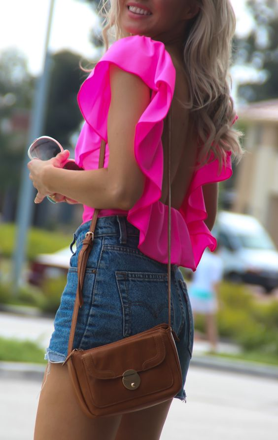 Neon pink. open back.: Jean Shorts, Pink Ruffles, Bright Pink, Neon Ruffles, Dream Closet, High Waisted Shorts, Hot Pink Tops, Summer Outfits, Neon Pink