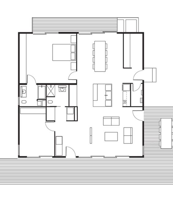 Connect 5 House Floor Plan: A Kitchen / B Dining Room / C Living Room / D  Master Bedroom / E Bathroom / F Bedroom / G Utility Room / H Deck. Phot