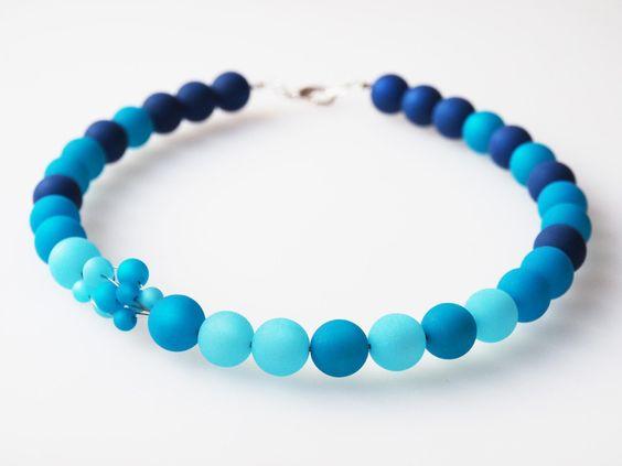 Kette blau türkis Polaris Collier von schmuckmanufaktur koenigsblau auf DaWanda.com